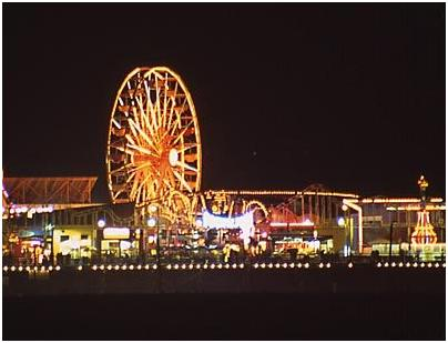 Santa Monica Beach Pier at Night